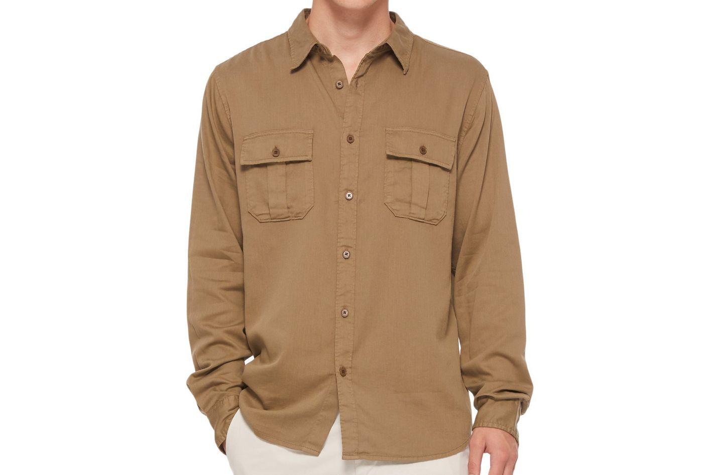 Frame Denim Slouchy Cotton-Blend Work Shirt