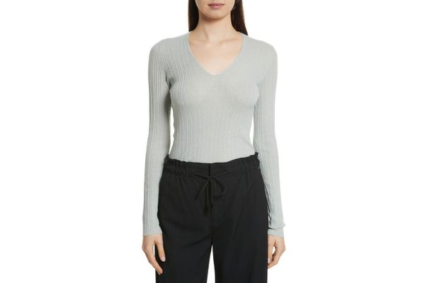 Vince Ribbed Cashmere V-Neck Sweater