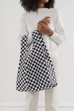 BAGGU Standard Reusable Shopping Bag in Black Checkerboard