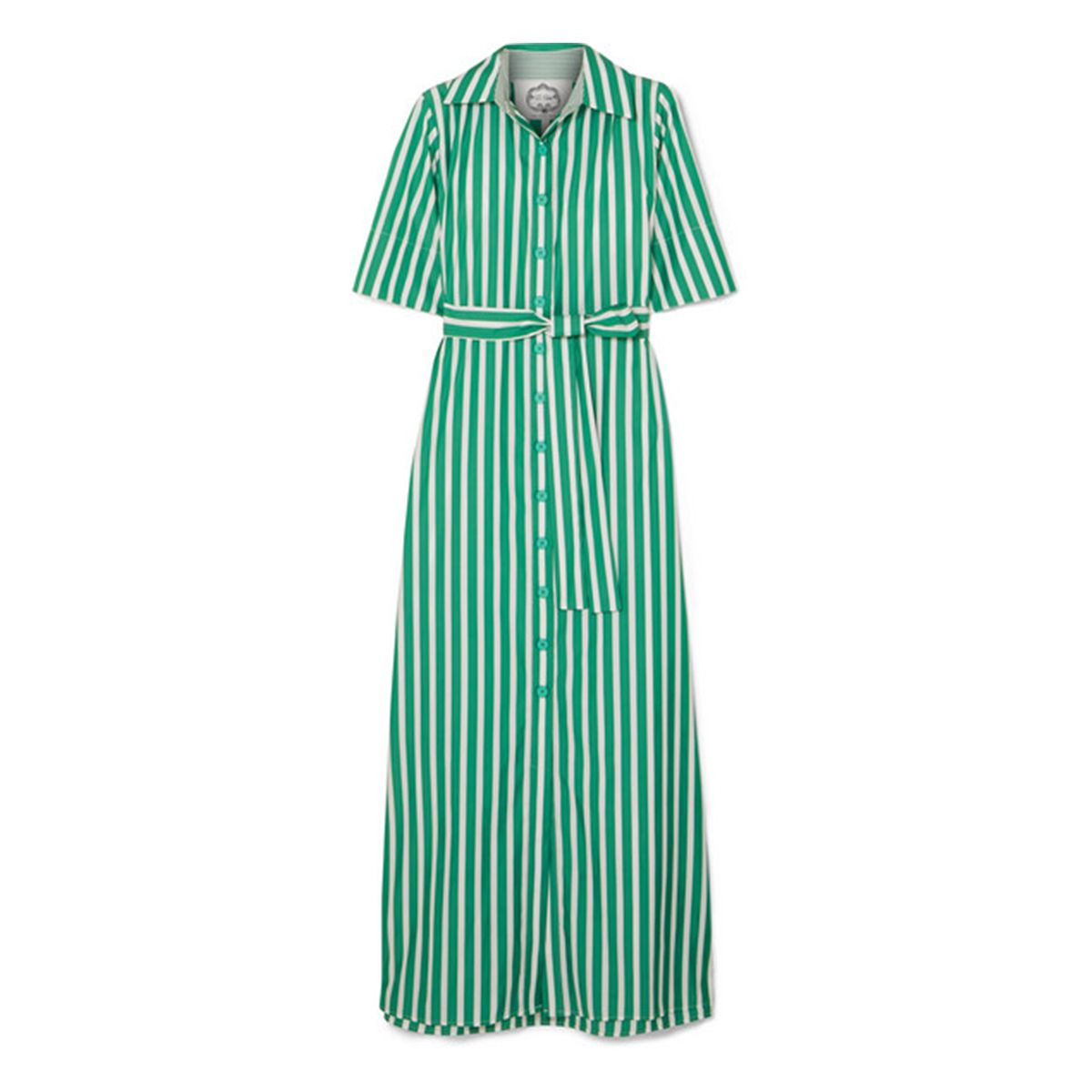 Valerie striped cotton-poplin maxi dress