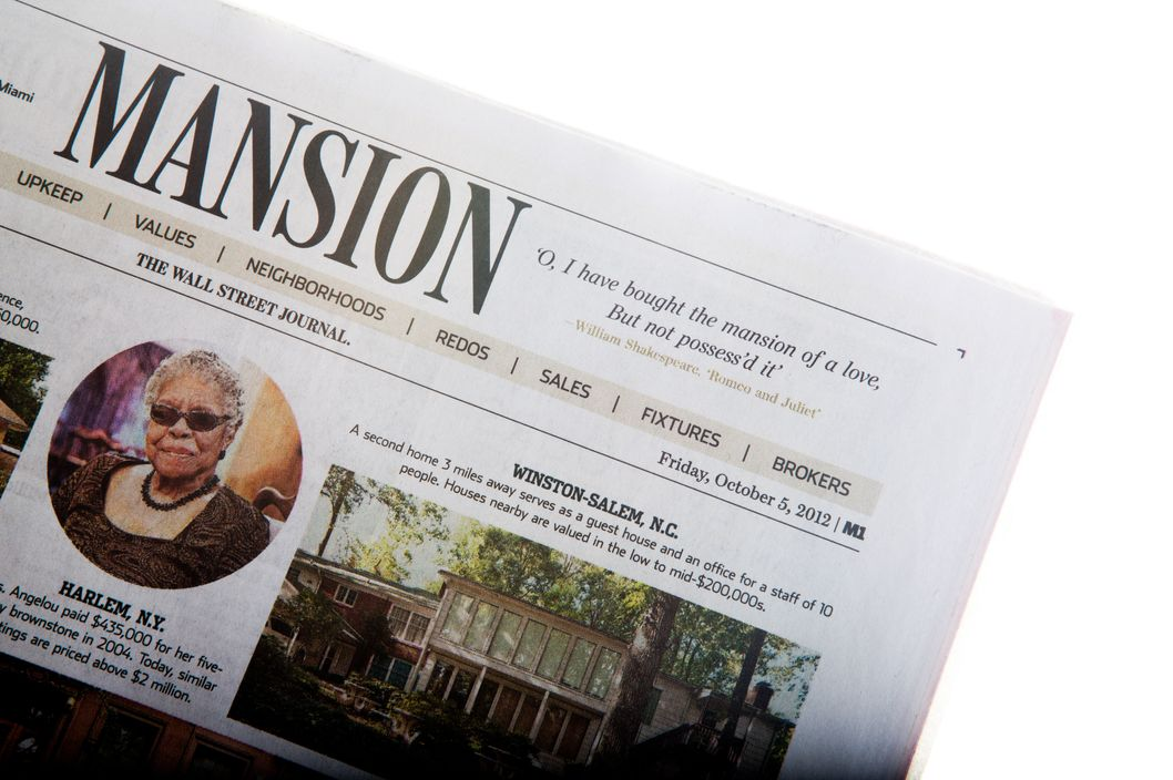 Wsj debuts mansion with shakespeare quote nymag for Wall street journal mansion