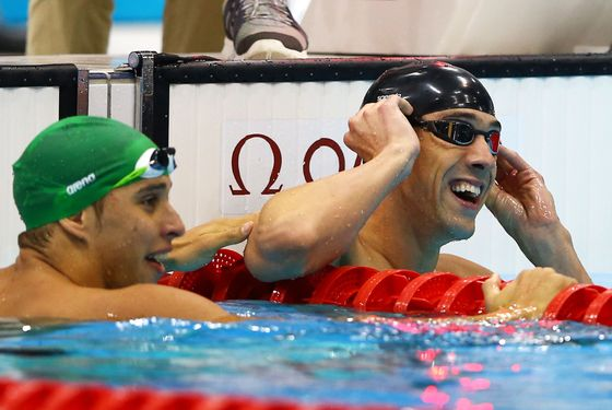 LONDON, ENGLAND - AUGUST 03:  Michael Phelps of the United States celebrates winning the Men's 100m Butterfly Final on Day 7 of the London 2012 Olympic Games at the Aquatics Centre on August 3, 2012 in London, England.  (Photo by Al Bello/Getty Images)