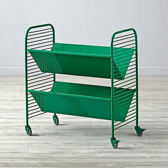 The Land of Nod Eric Trine Linear Green Book Cart