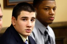Trent Mays, 17, left, and 16-year-old Ma'lik Richmond sit at the defense table before the start of their trial on rape charges in juvenile court on Wednesday, March 13, 2013 in Steubenville, Ohio. Mays and Richmond are accused of raping a 16-year-old West Virginia girl in August of 2012. (AP Photo/Keith Srakocic, Pool)
