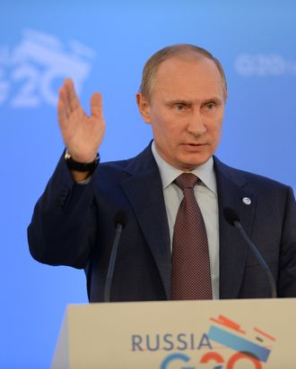 SAINT PETERSBURG, RUSSIA - SEPTEMBER 06: In this handout image provided by Host Photo Agency, President of Russia Vladimir Putin helds a press conference on the outcomes of the G20 Leaders' Summit on September 6, 2013 in St. Petersburg, Russia. Leaders of the G20 nations made progress on tightening up on multinational company tax avoidance, but remain divided over the Syrian conflict during enter the final day of the Russian summit. (Photo by Alexey Maishev/Host Photo Agency via Getty Images)