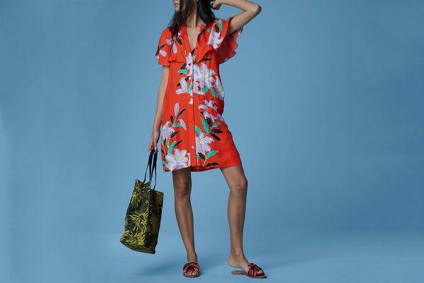 Diane von Furstenberg Short-Sleeve Open Back Dress, Argos Clementine