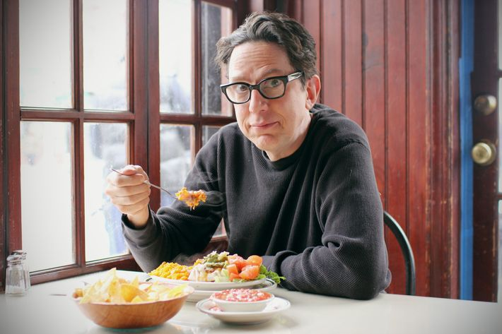 Linnell with his regular lunch at Elora's, which always costs $6.50.