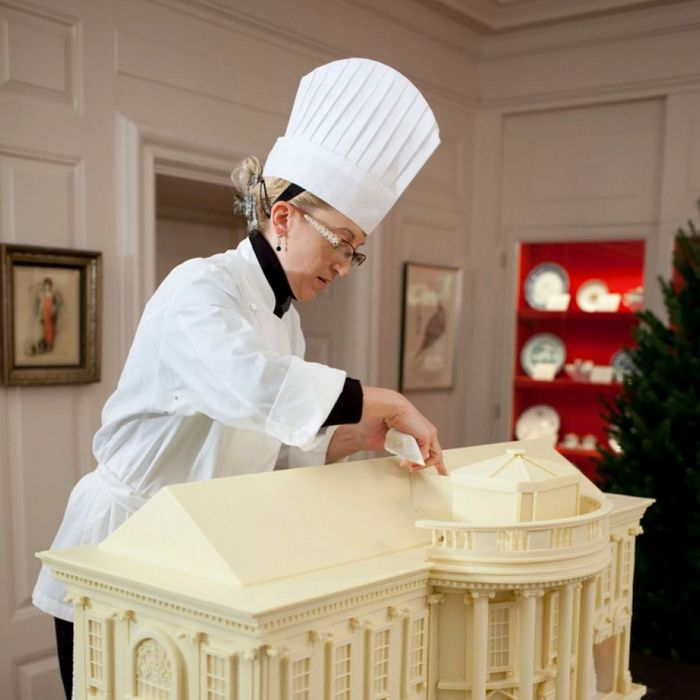 At work on the gingerbread White House.