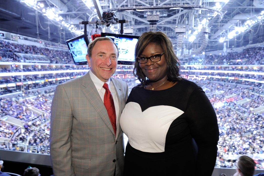 LOS ANGELES, CA - JUNE 07:  Gary Bettman and Retta attend a hockey game between the New York Rangers and the Los Angeles Kings in Game Two of the 2014 NHL Stanley Cup Final at the Staples Center on June 7, 2014 in Los Angeles, California.  (Photo by Noel Vasquez/Getty Images)