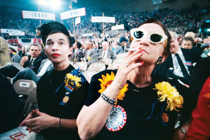 A pair of Goldwater fans at the Cow Palace, Daly City, California.