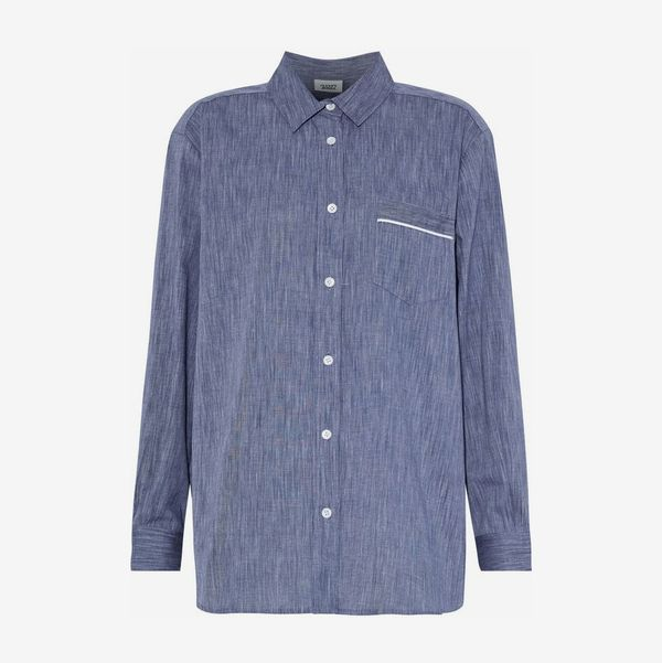 Cotton-Chambray Nightshirt - strategist best blue long sleeve button up night shirt with collar
