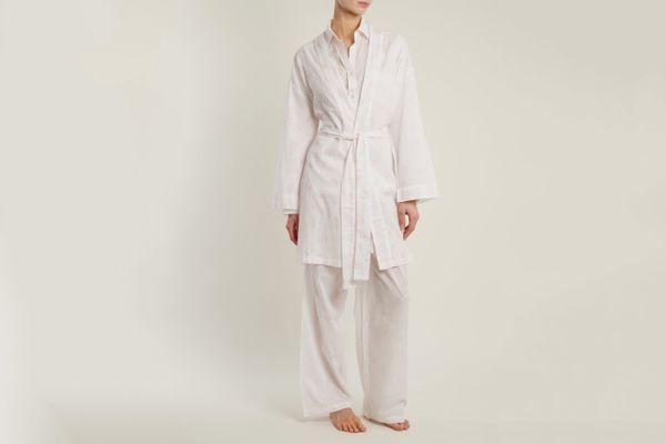 Pour Les Femmes Floral-Print Cotton-Batiste Robe