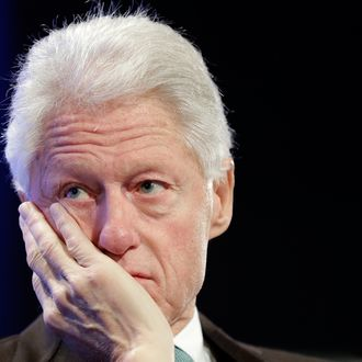 Former U.S. President Bill Clinton, founder of the William J. Clinton Foundation, participates in an event sponsored by the Peter G. Peterson Foundation at the Mellon Auditorium May 7, 2013 in Washington, DC. The two participated in a discussion entitled