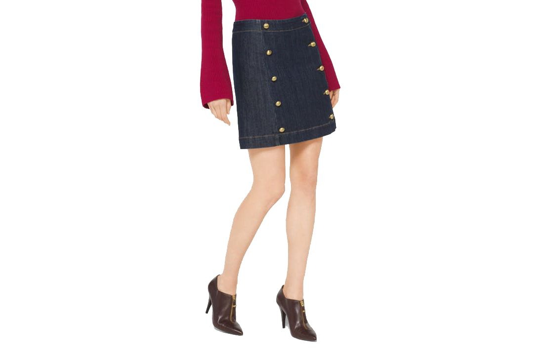 Michael by Michael Kors Button-Front Denim Mini Skirt
