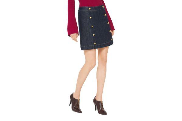 Michael by Michael Kors Button-Front Denim Mini Skirt