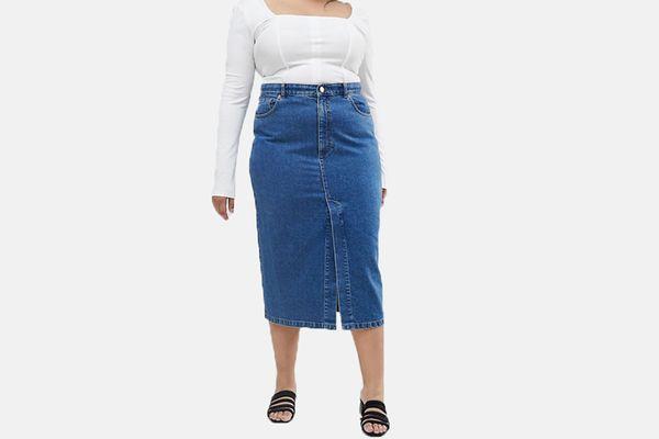 ASOS Design Denim Midi Skirt