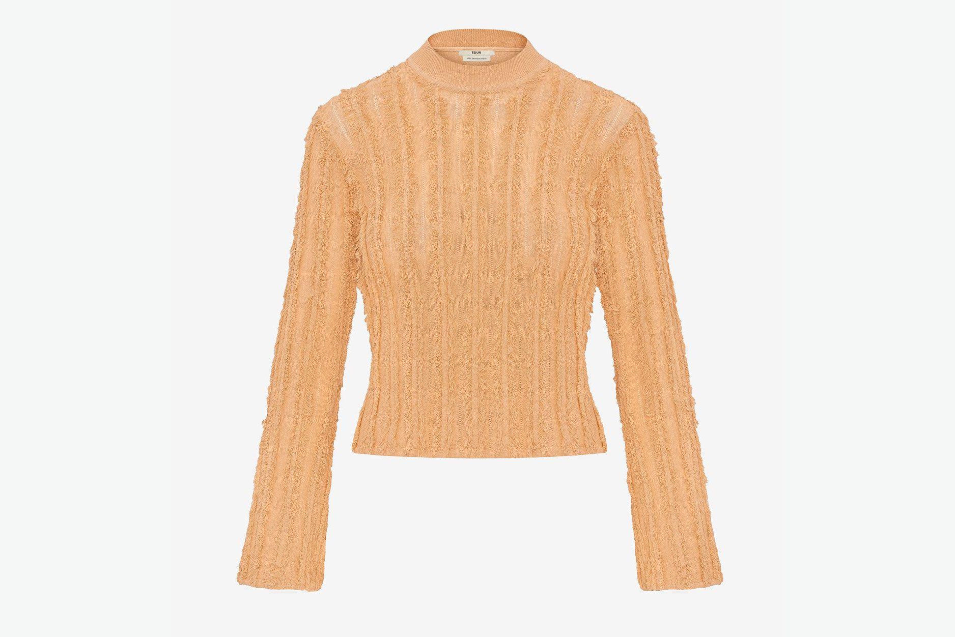 Stretch Viscose Fringe Pullover