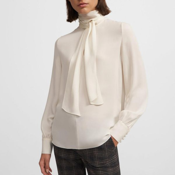 Theory Tie Neck Blouse in Silk Georgette