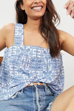 Anthropologie Embroidered Button-Back Tank