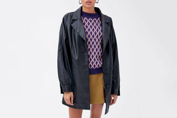 UO Nadia Faux Leather Car Coat