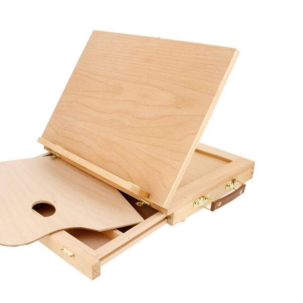 Adjustable Wood Desktop Table Easel with Drawer