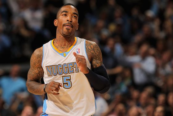 DENVER, CO - APRIL 23:  J.R. Smith #5 of the Denver Nuggets celebrates a three point shot against the Oklahoma City Thunder in Game Three of the Western Conference Quarterfinals in the 2011 NBA Playoffs on April 23, 2011 at the Pepsi Center in Denver, Colorado. NOTE TO USER: User expressly acknowledges and agrees that, by downloading and or using this photograph, User is consenting to the terms and conditions of the Getty Images License Agreement.  (Photo by Doug Pensinger/Getty Images)