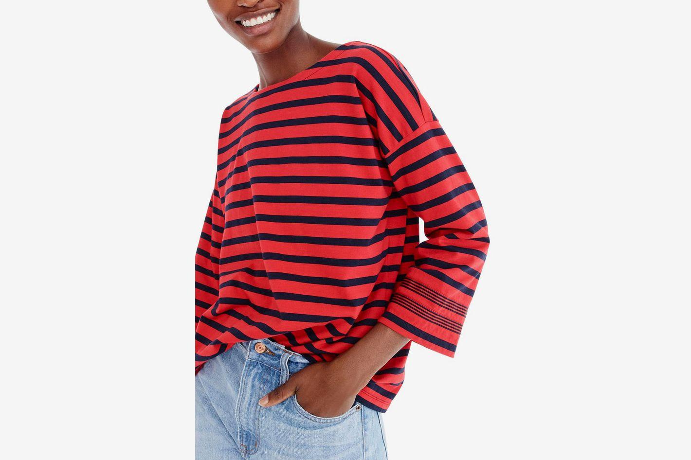 J.Crew Striped T-Shirt with Grosgrain Trim