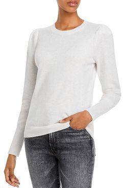AQUA Cashmere Puff-Sleeve Cashmere Sweater
