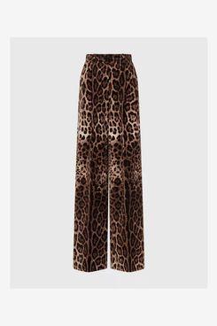 Dolce & Gabbana Velvet Leopard Print Flared Pants