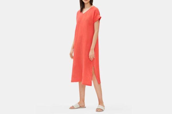 Eileen Fisher Organic Cotton Gauze V-Neck Dress