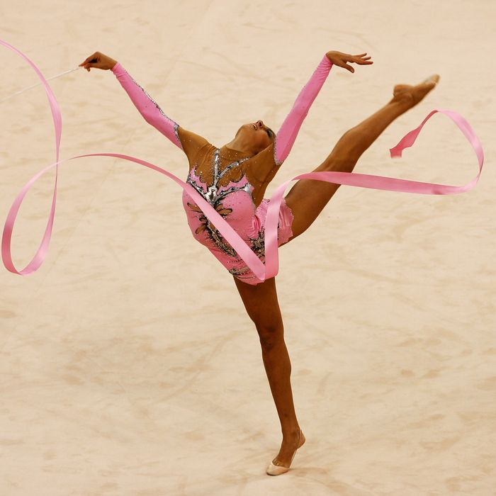 Evgeniya Kanaeva of Russia competes in the Individual All-Around final held at the University of Science and Technology Beijing Gymnasium on Day 15 of the Beijing 2008 Olympic Games on August 23, 2008 in Beijing, China.
