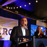 Democratic U.S. House Candidate Gil Cisneros Holds Election Night Rally