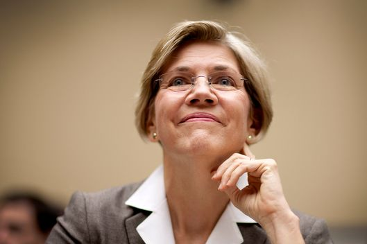 Elizabeth Warren, the Obama administration adviser on the Consumer Financial Protection Bureau, smiles before testifying at a hearing of the House Committee on Oversight and Government Reform in Washington, D.C., U.S., on Thursday, July 14, 2011. Warren said that the new agency would monitor possible violations of rules designed to protect the finances of soldiers and sailors after it starts work on July 21.