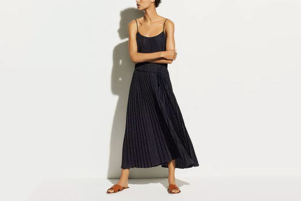 Vince Polka Dot Pleated Cami Dress