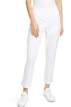 Eileen Fisher Organic Stretch Cotton Slit Hem Ankle Pants