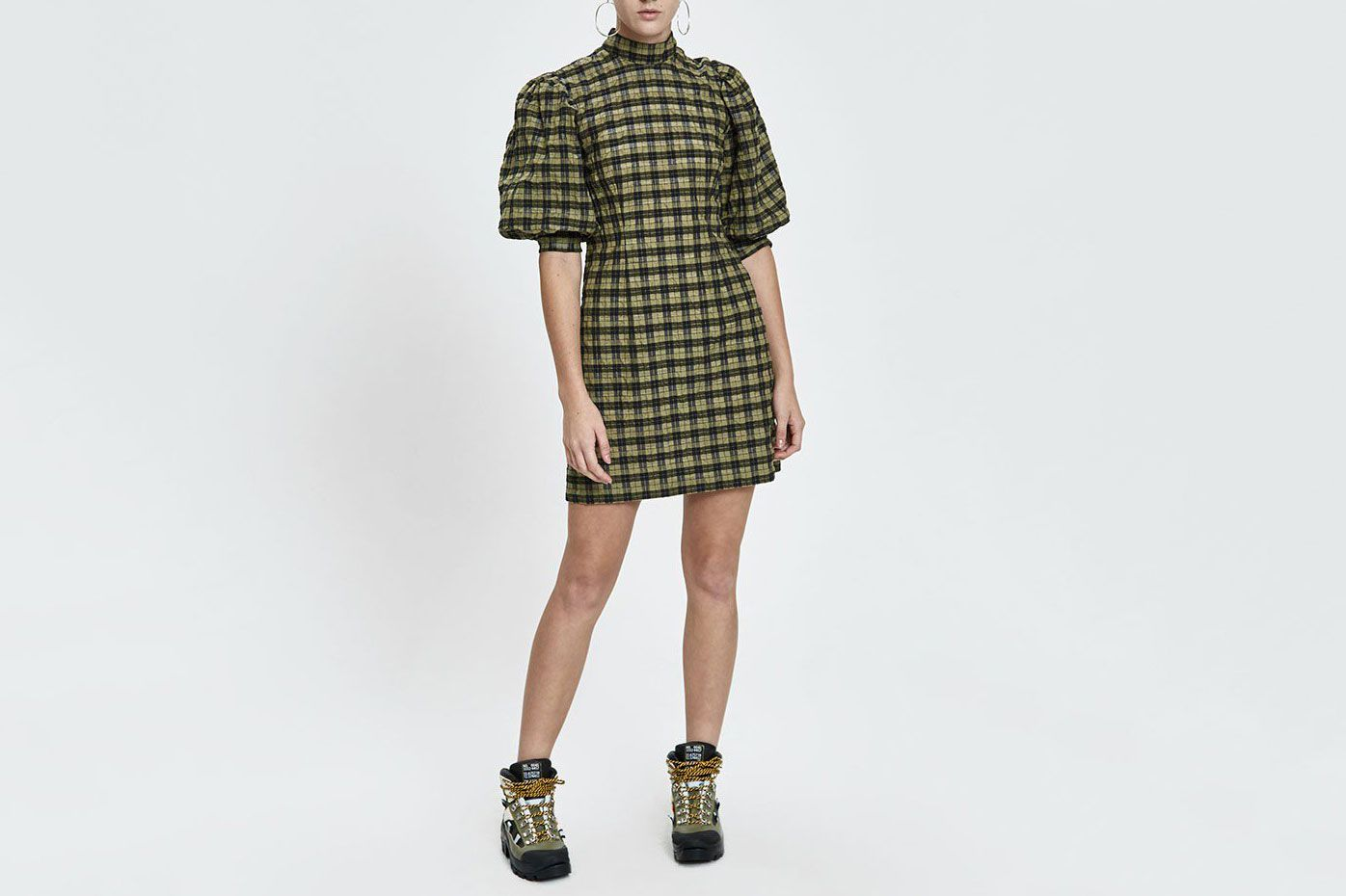 Ganni Seersucker Check Puff Sleeve Dress