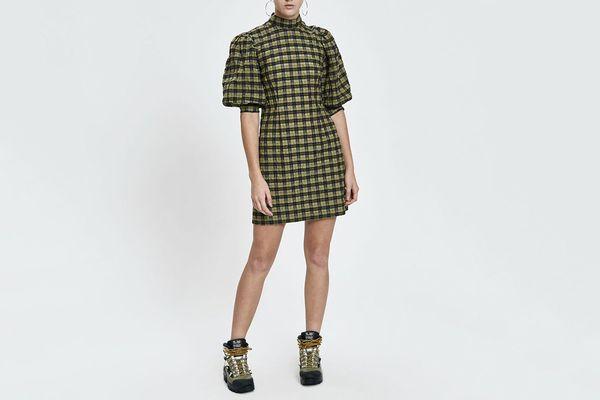 Ganni Seersucker Check Puff Sleeve Dress