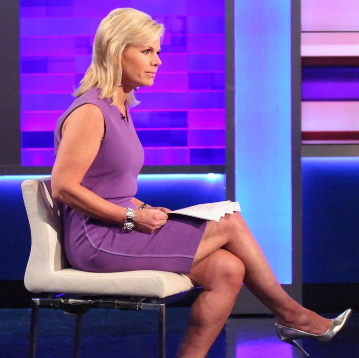 Gretchen Carlson on air (left).