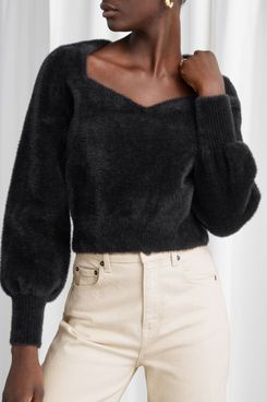 & Other Stories Cropped Sweetheart Neck Sweater