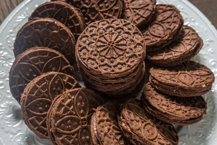 Weller and Ventura's chocolate pizzelle, filled with homemade Nutella.