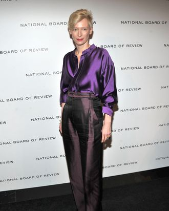 Actress Tilda Swinton arrives at the W Magazine Best Performances Issue and The Golden Globes celebration hosted by Dom Perignon and W Magazine held at Chateau Marmont on January 13, 2012 in Los Angeles, California.