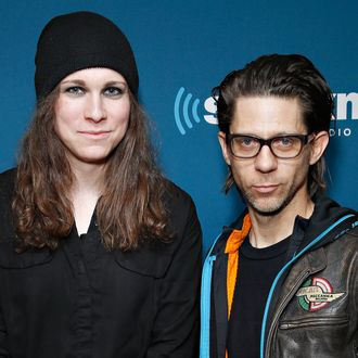 NEW YORK, NY - JANUARY 10: Laura Jane Grace and Atom Willard of Against Me! visit the SiriusXM Studios on January 10, 2014 in New York City. (Photo by Cindy Ord/Getty Images)