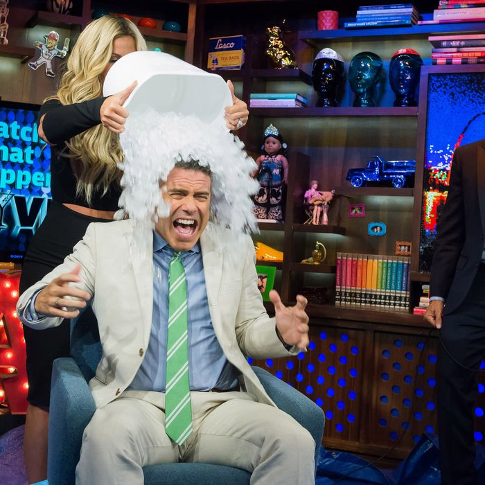 WATCH WHAT HAPPENS LIVE -- Pictured (l-r): Andy Cohen, Kim Zolciak and Bruce Bozzi -- (Photo by: Charles Sykes/Bravo/NBCU Photo Bank)