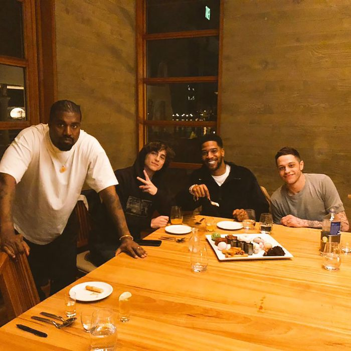 Kanye West, Timothee Chalamet, Kid Cudi, Pete Davidson.