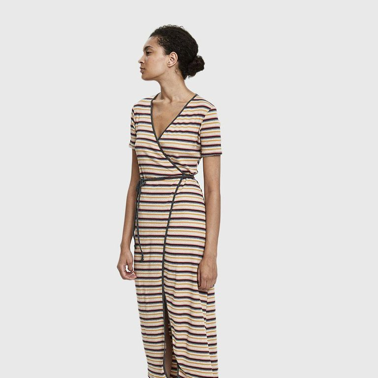Which We Want Lou Ribbed Wrap Dress