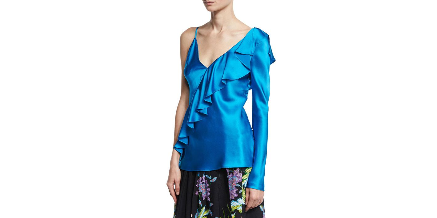 DVF Asymmetric Satin Blouse