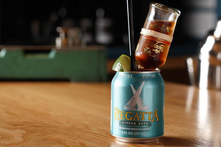 Dark & Stormy: Ron Zacapa Solera rum, ginger beer, and fresh lime.