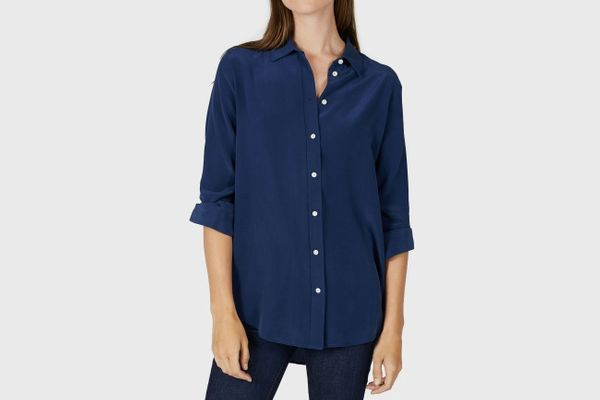 Everlane Relaxed Silk Shirt in Royal Blue