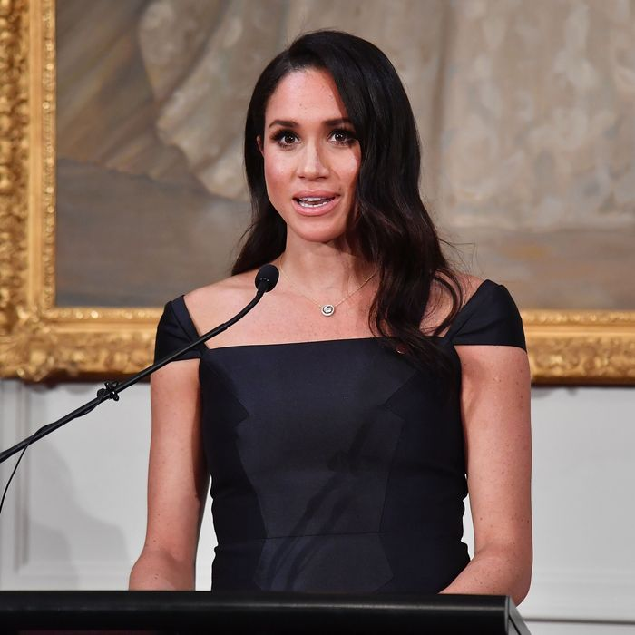 Meghan Markle giving a speech about the New Zealand women's suffrage movement.