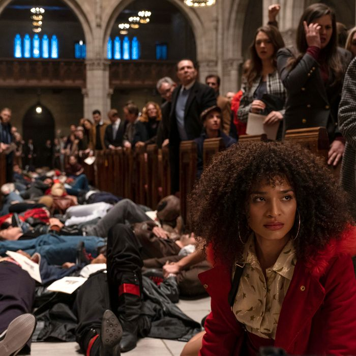 Angel (Indya Moore) at Pose's re-creation of the St. Patrick's Cathedral die-in.